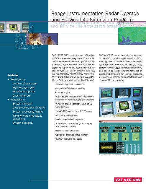 Range instrumentation radar upgrade and service life extension