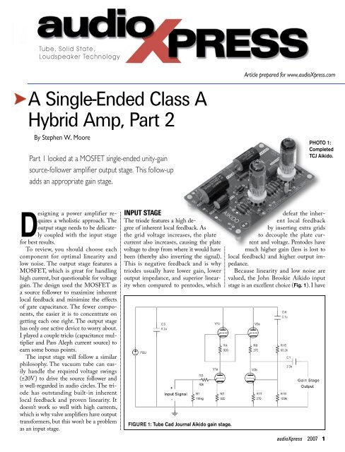 A Single-Ended Class A Hybrid Amp, Part 2 - Stephen W  Moore