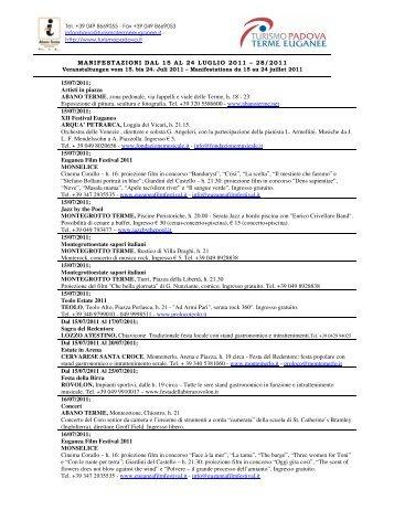 MANIFESTAZIONI DAL 15 AL 24 LUGLIO 2011 – 28 ... - Hotel Petrarca