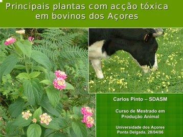 Principais plantas com acção tóxica em bovinos dos Açores (cores)