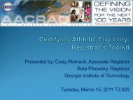 Registrar's Toolkit for Certifying Athletic Eligibility - AACRAO