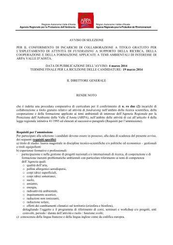 ANNUNCIO DI LAVORO ARPA VALLE D'AOSTA