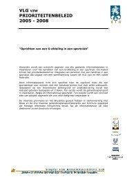 VLG VZW PRIORITEITENBELEID 2005 - 2008 - Addemar