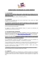 conditions tech. - Le Sans Réserve