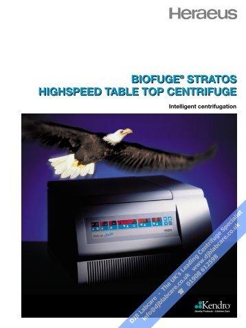 biofuge® stratos highspeed table top centrifuge ... - DJB Labcare