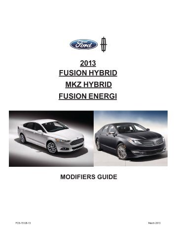 2013 Fusion/MKZ/ Hybrid Energi Modifiers Guide - Web Single Login