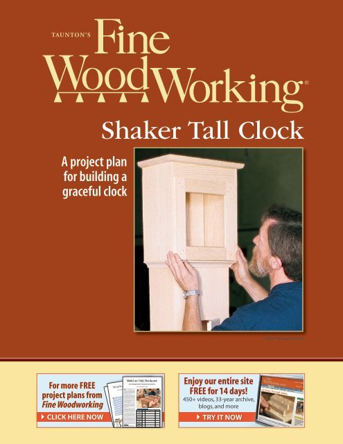 Shaker Tall Clock Pdf Fine Woodworking
