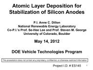 Atomic Layer Deposition for Stabilization of Silicon Anodes - BATT