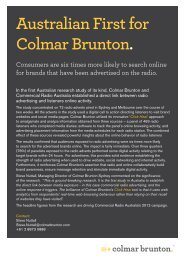 Australian First for Colmar Brunton. - Commercial Radio Australia