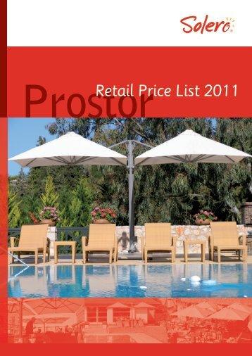 Prostor Retail Price List 2011 - Solero Parasols
