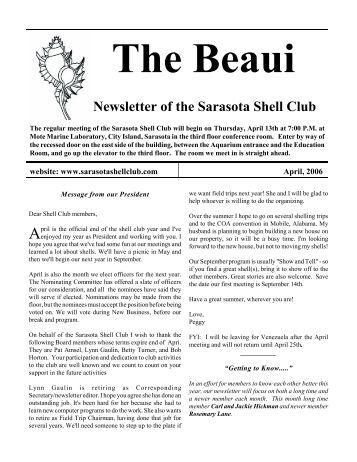 Monthly Newsletter of the Sarasota Shell Club
