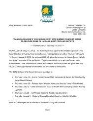 FOR IMMEDIATE RELEASE MEDIA CONTACTS ... - Waikiki Aquarium