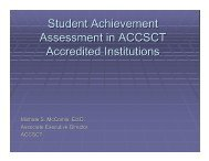 Student Achievement Assessment in ACCSCT Accredited Institutions