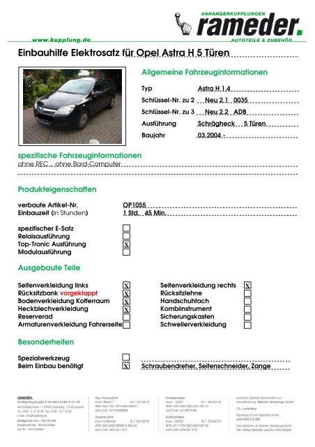 Schaltplan Opel Astra H Caravan
