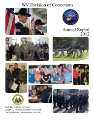 WV Division of Corrections Annual Report 2012 - West Virginia ...