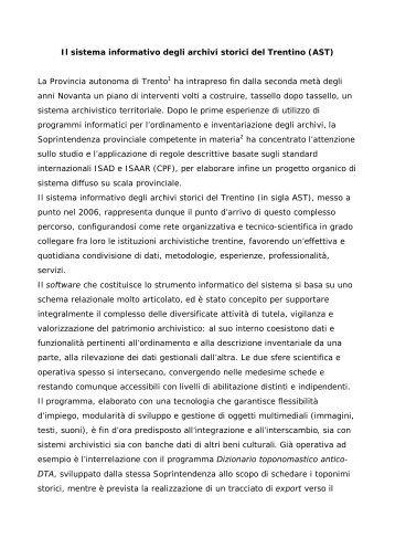 Il sistema informativo degli archivi storici del Trentino - Istituto per i ...