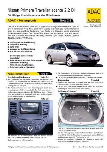 Umfassender Test Nissan Primera Traveller acenta 2.2 Di - ADAC
