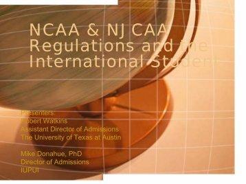 NCAA & NJCAA Regulations and the International Student - AACRAO
