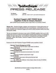Rockford Fosgate's 2007 POWER Series Amplifiers To Set An ...