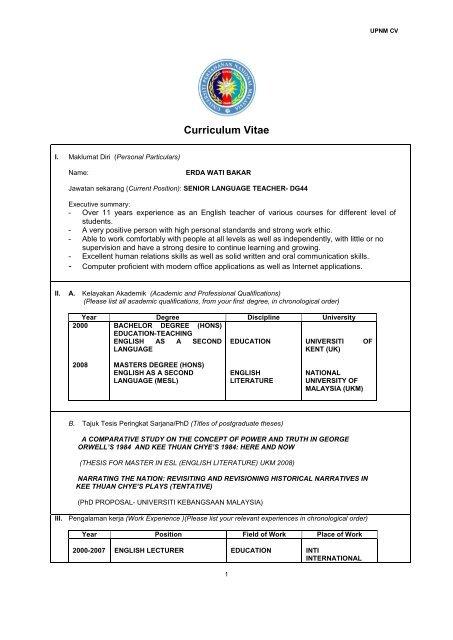 Curriculum Vitae Universiti Pertahanan Nasional Malaysia