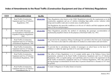 construction, equipment and use of vehicles - Road Safety Authority