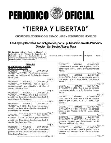 Periódico Oficial Tierra y Libertad No. 4578 en el cual se decreta la ...