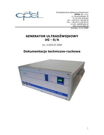 GENERATOR ULTRADŹWIĘKOWY UG - S/A Dokumentacja ... - Optel