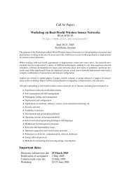 Call for Papers Workshop on Real-World Wireless Sensor Networks ...
