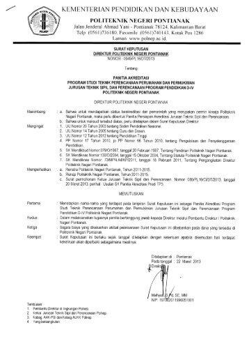 Panitia Akreditasi - Politeknik Negeri Pontianak