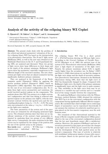 PDF (570.8 KB) - Astronomy and Astrophysics Supplement Series