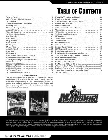 2009 Media Guide - Madonna University Athletics
