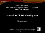 Panel Discussion: Electronic Exchange of Student ... - AACRAO