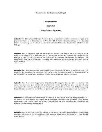 Reglamento de Gobierno Municipal - Instituto Tecnológico de ...
