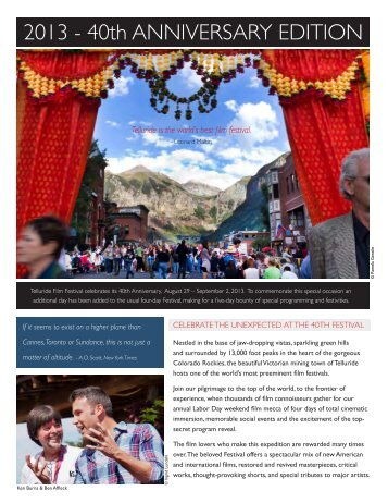 Sponsor Deck - Telluride Film Festival