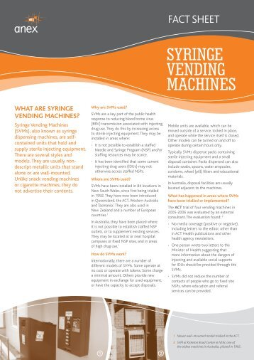 Fact sheet – Syringe Vending Machines - Anex