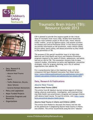 (TBI) Resource Guide 2013 - Children's Safety Network
