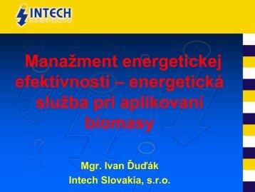 Manažment energetickej efektívnosti – energetická služba pri ...