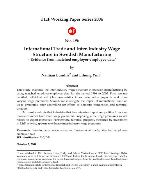 International Trade and Inter-Industry Wage structure in