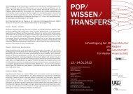 PoP ⁄ Wissen ⁄ Transfers - Fakultät für Kulturwissenschaften