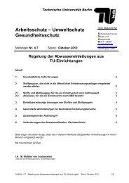 Regelung der Abwassereinleitungen aus TU-Einrichtungen