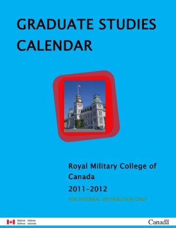 graduate studies calendar 2011/ 2012 - Collège militaire royal du ...