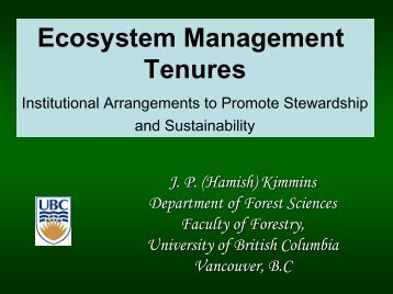 Ecosystem Management Tenures - Faculty of Forestry - University of ...