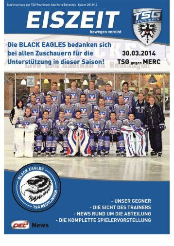 Black Eagles Reutlingen vs. MERC Mannheim 30.3.2014 Stadionzeitung
