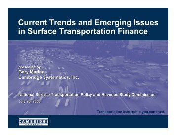 Current Trends and Emerging Issues in Surface Transportation ...