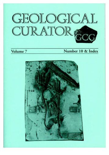 Number 10 and Index to Volume 7 - Geological Curators Group