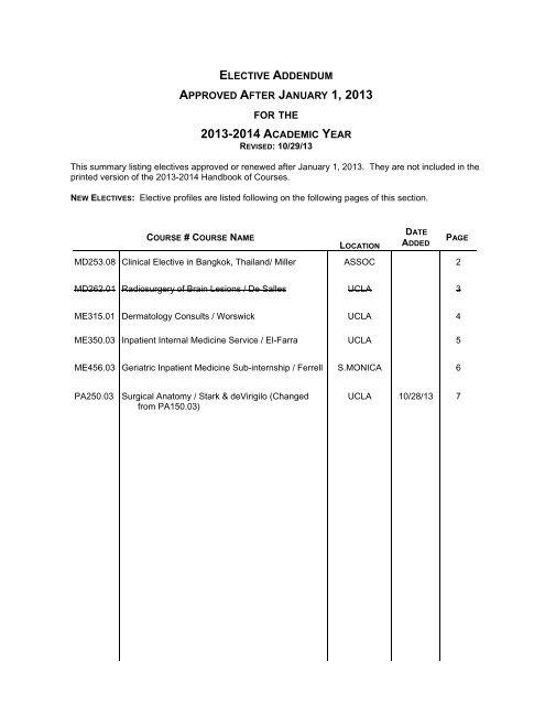 Elective Addendum - Medical Student Resources - UCLA
