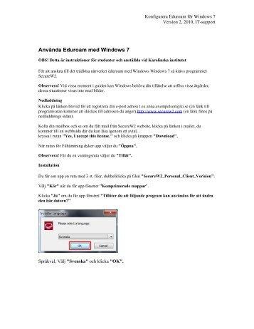 Eduroam med Windows 7 - Internwebben - Karolinska Institutet