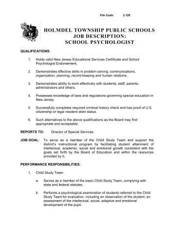Marvelous Holmdel Township Public Schools Job Description: School Psychologist