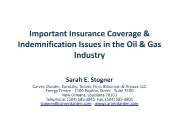 Important Insurance Coverage & Indemnification Issues in ... - PLANO