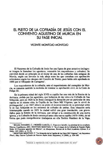 el pleito de la cofradía de jesús con el convento agustino de murcia ...